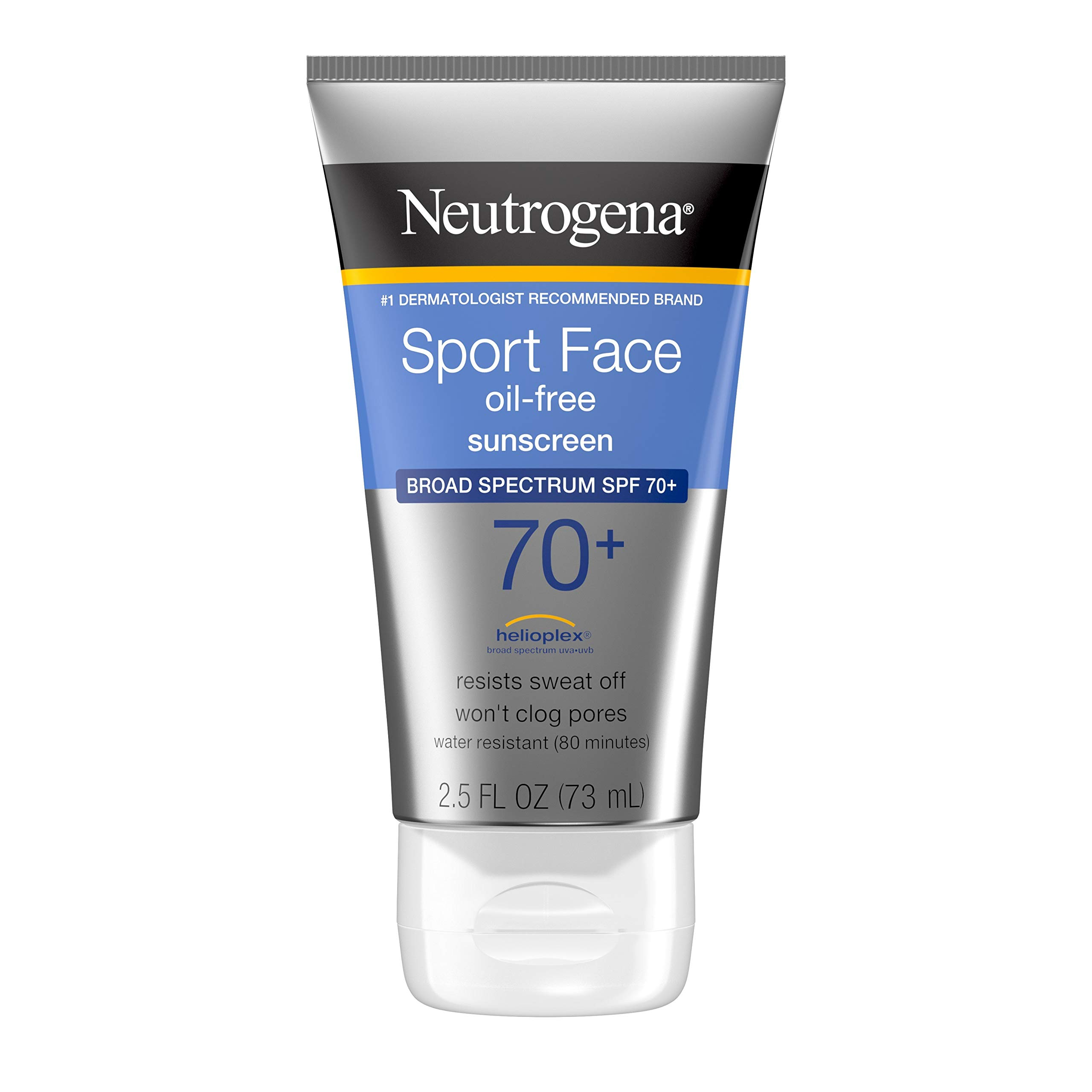 Neutrogena Sport Face Sunscreen SPF 70+, Oil-Free Facial Sunscreen Lotion with Broad Spectrum UVA/UVB Sun Protection, Sweat-Resistant & Water-Resistant, 2.5 fl. oz