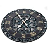 Lily's Home Hanging Verdigris Wall Clock, Ideal for Indoor or Outdoor Use, Makes a Great Housewarming Gift, Black
