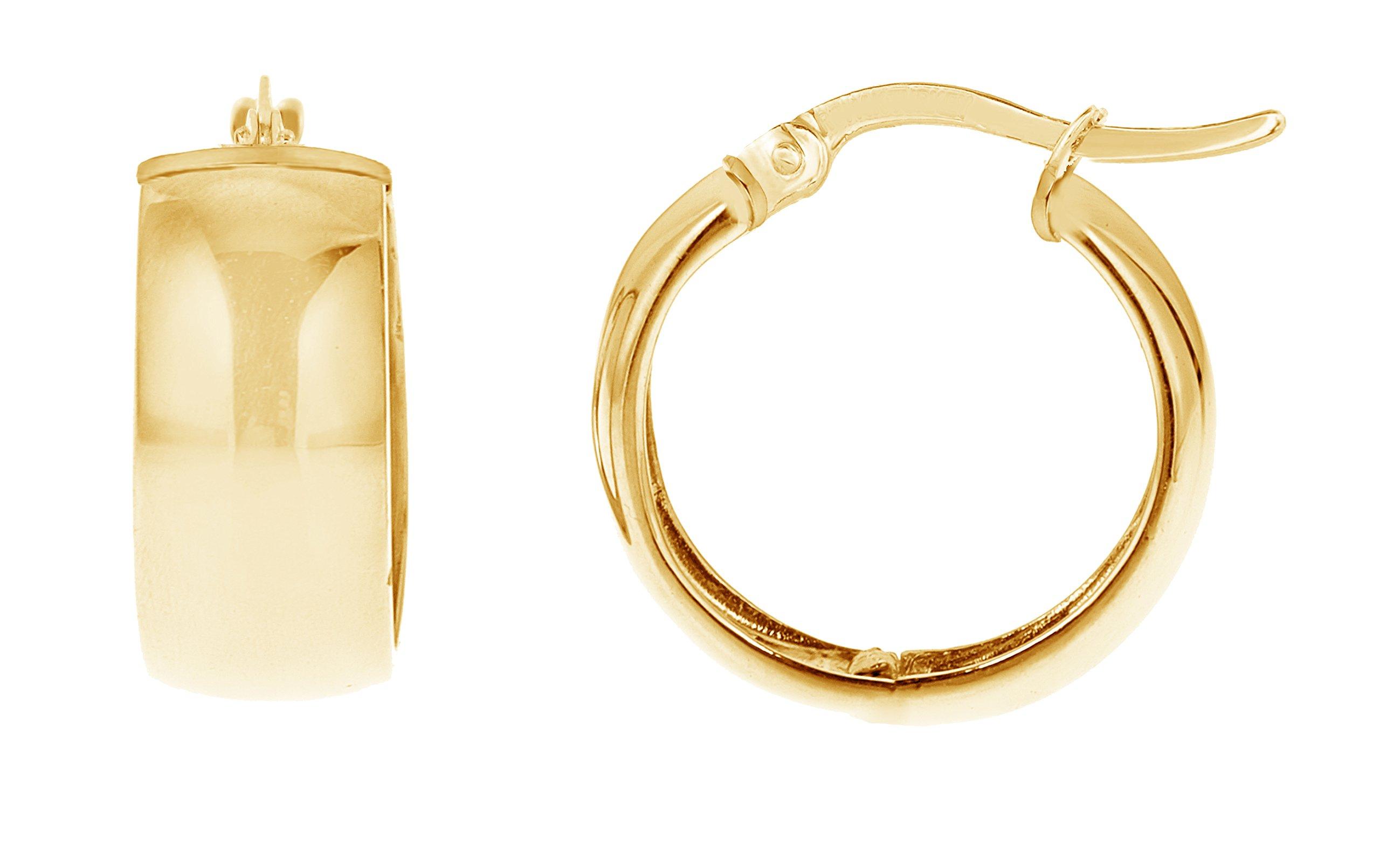 14k Yellow Gold Shiny Polished Wide Huggies Hoop Earrings 6x13.5 Mm (yellow-gold)