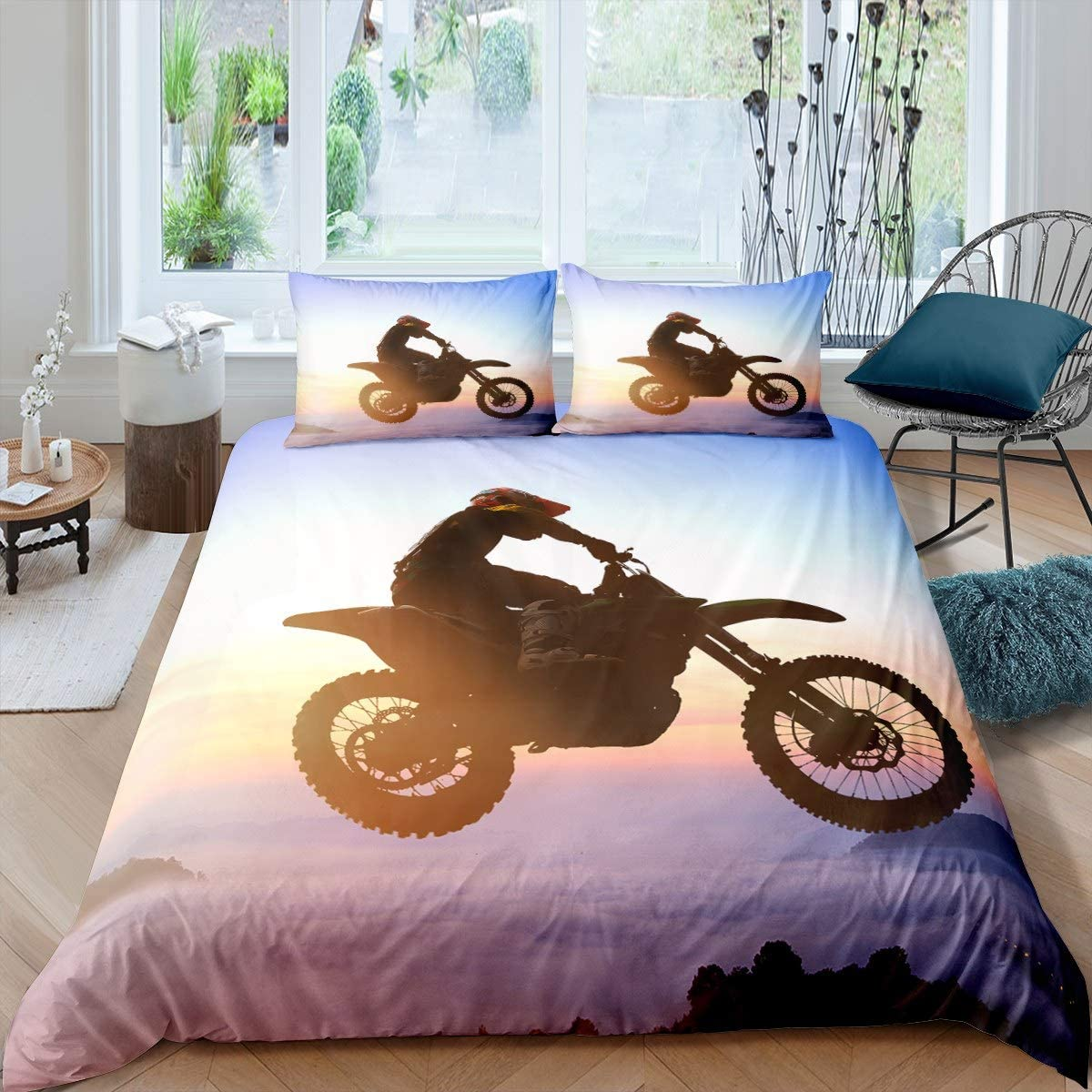 Motorcycle Duvet Cover Extreme Sports Theme Decor King Size Bedding Duvet Cover Motocross Printed Pattern Comforter Cover for Adult Kids