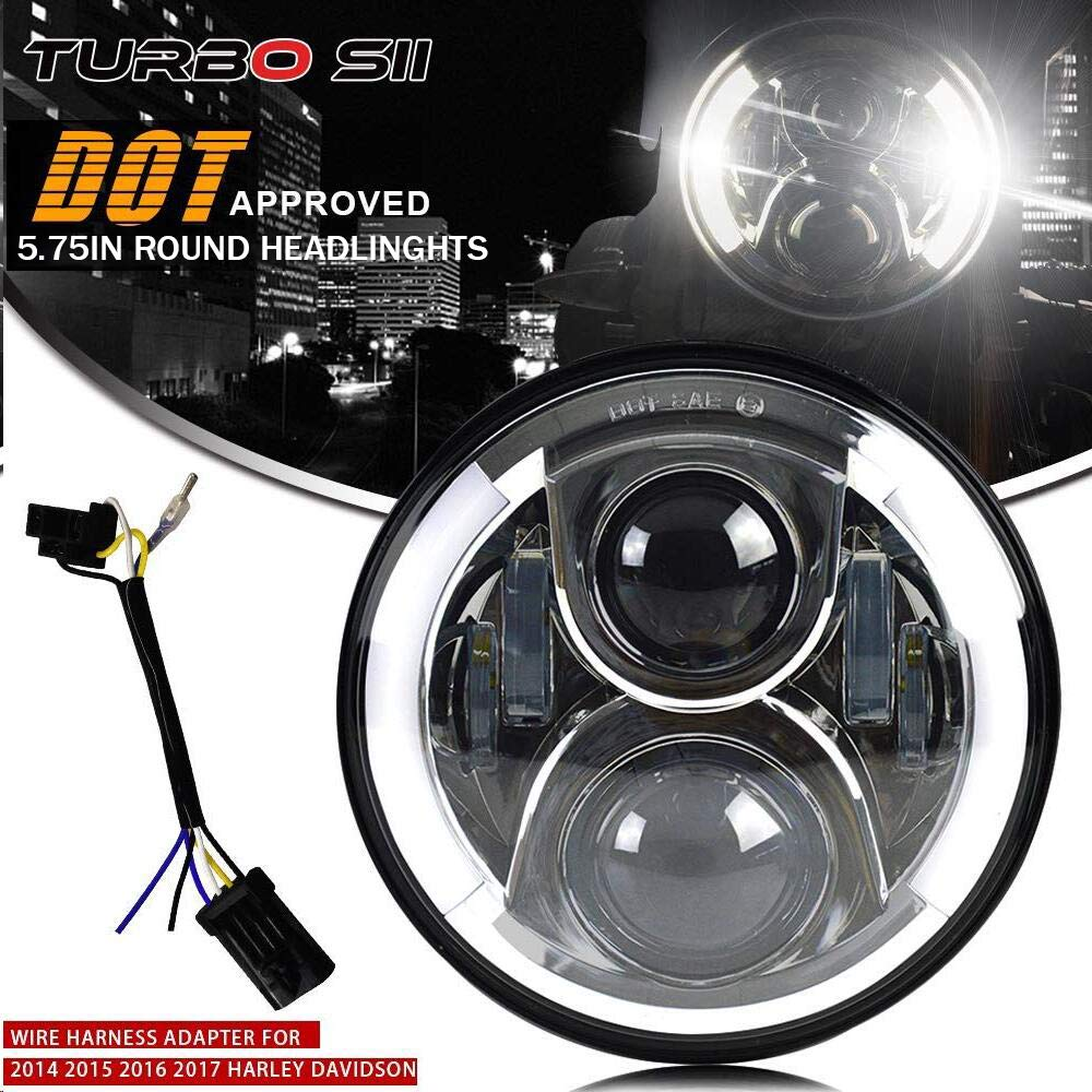 DOT 5-3/4 5.75' Round Led Headlight With DRL Hi/Lo Beam For Motorcycle Harley Davidson Sportster Touring Iron Breakout Dyna FXDC Lowrider Street Bob Nightster Victory Octane Wide Glide Honda Yamaha TURBO MARKETING
