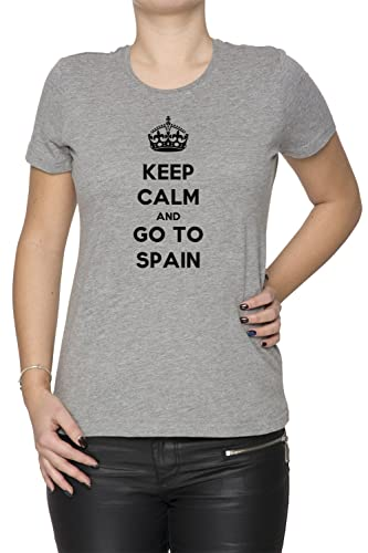 Keep Calm And Go To Spain Mujer Camiseta Cuello Redondo Gris Manga Corta Todos Los Tamaños Women's T...