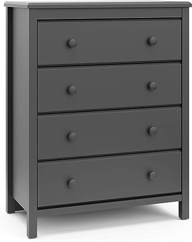 Storkcaft Alpine 4 Drawer Dresser Gray | Stylish Storage Dresser Chest