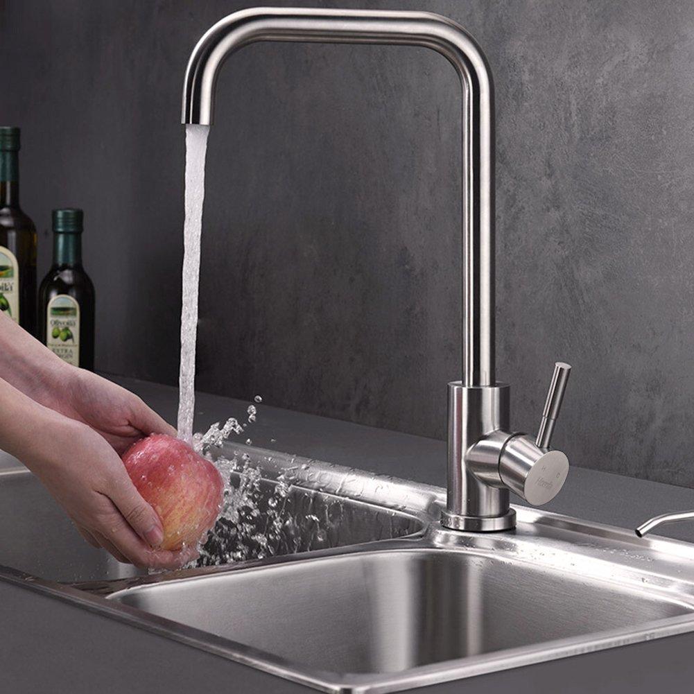 HOMFA Grifo de Cocina 360/°Giratorio Agua Fr/ía y Caliente Grifo para Fregadero de Acero Inoxidable 37 x 22 x 5cm