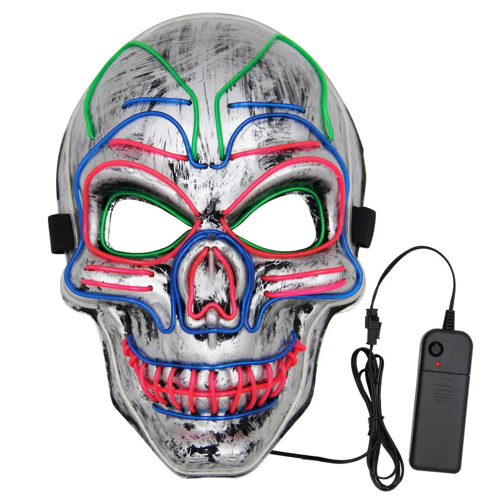 VATOS Halloween LED Mask, Scary Light Up Mask with 3 Light Up Modes and Soft Sponge for Halloween Costume Parties Silver by VATOS