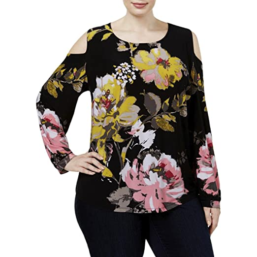 970c6769509 Image Unavailable. Image not available for. Color  INC International  Concepts Plus Size Floral-Print Cold-Shoulder ...