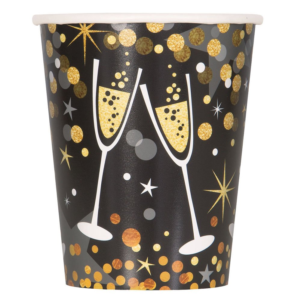 Unique Industries 58056 Glittering New Year Party Cups, 9 oz, Black/Gold/Silver