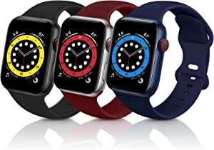 ZALAVER Bands Compatible with Apple Watch Band 38mm 40mm, Soft Silicone Sport Replacement Band Compatible with iWatch Series 6 5 4 3 2 1 Women Men Black/Wine Red/Navy Blue 38mm/40mm S/M