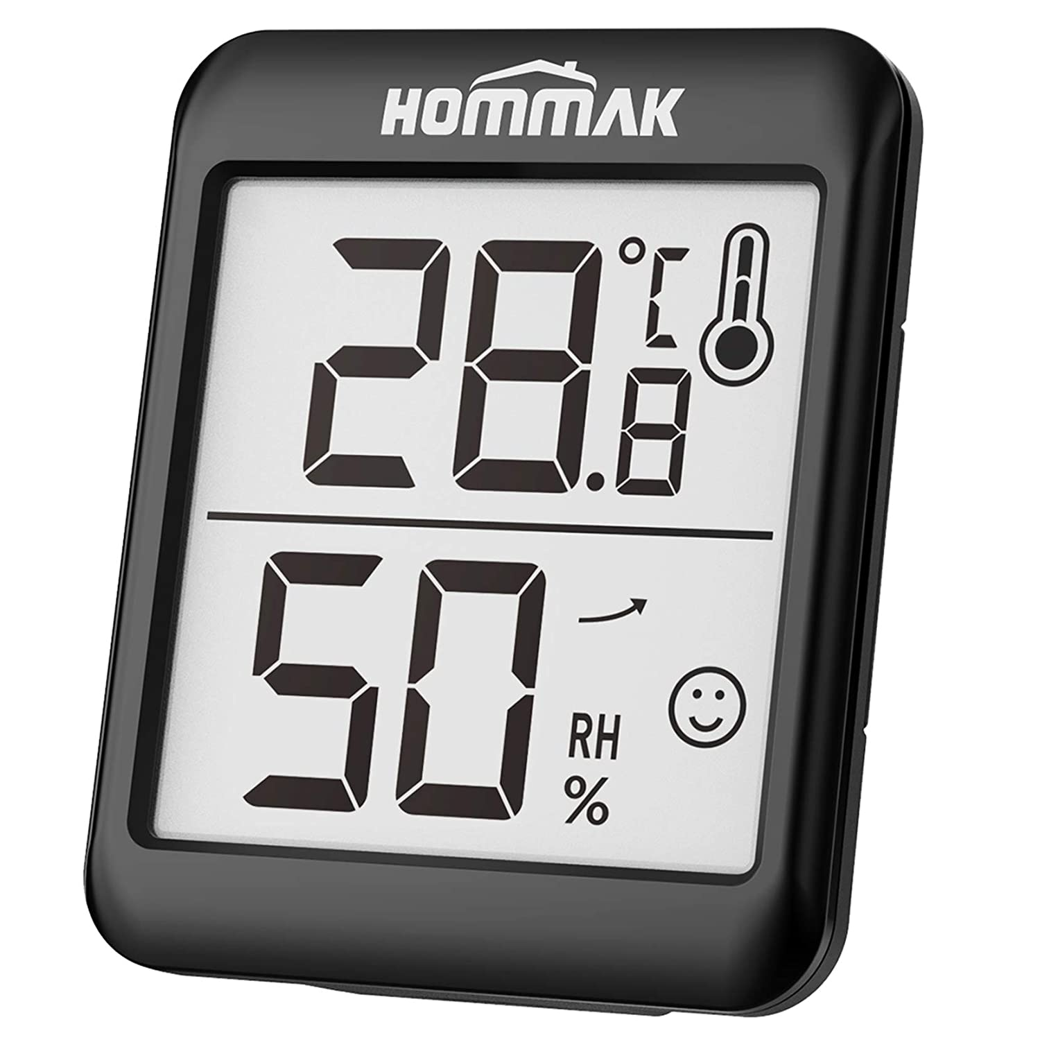 Hommak Indoor Room Thermometer Digital Hygrometer Humidity Meter, Temperature Monitor with High Accuracy, 2.3 Inch Large Display, Humidity Trendline, Black, for Kitchen Home Garage Warehouse