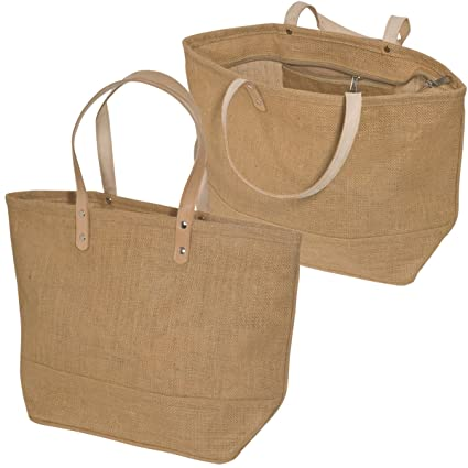 d69458d7724b Image Unavailable. Image not available for. Color  Jute Tote bag with  Leather Handles ...