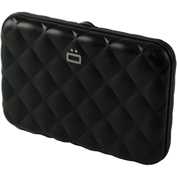Ogon- Quilted Button Black Card holder metal lock quilted Aluminium: Amazon.es: Hogar