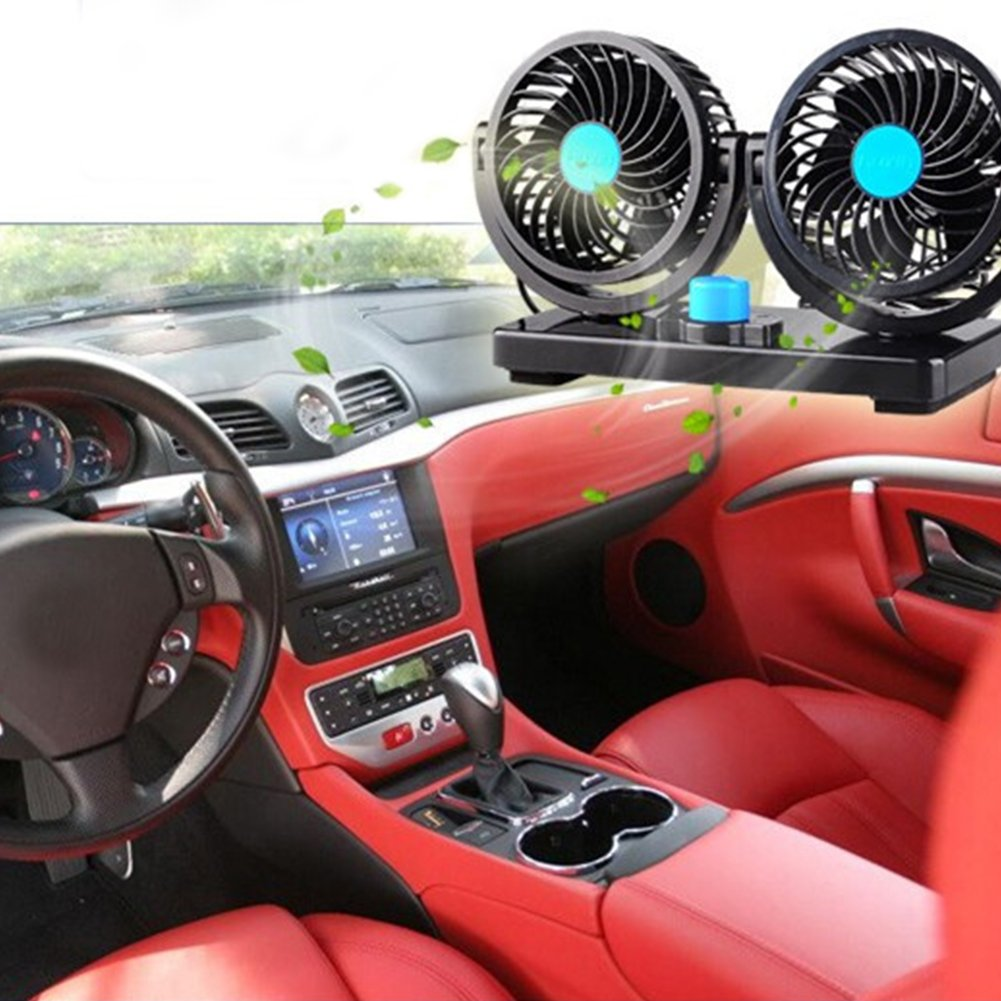 Xluckx 360 Rotating Free Adjustment Dual Head Car Auto Cooling Air Cool Fan Powerful Quiet 2 Speed
