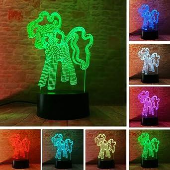 3D creativo mi mesa de luz nocturna de pony LED 7 gradiente de ...