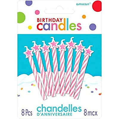 Spiral Star-Tipped Birthday Candles | Pink | Party Supply: Birthday Candles: Kitchen & Dining