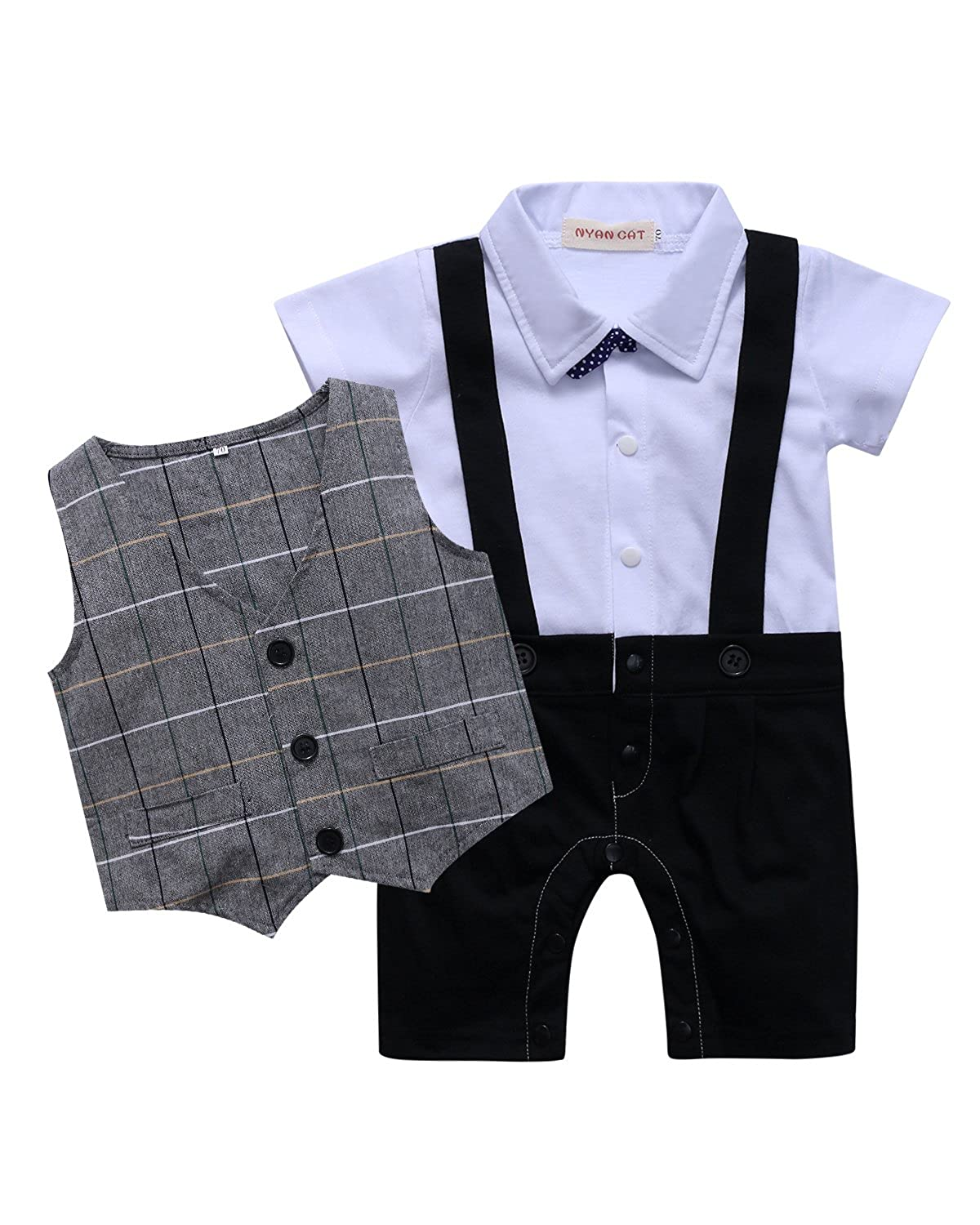 Kidsform Baby Boys Suit Party Outfits Gentleman Romper Short Sleeve Clothes with Bow Tie Bodysuit Jumpsuit