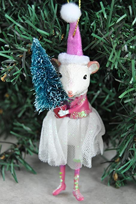 hanging beautiful dressed miss mouse decorations christmas tree ornament white mice