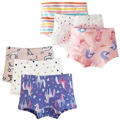 53d34b68247f Girls Boyshort Hipster Panties Cotton Kids Underwear Set (A-6 Pack, 1-