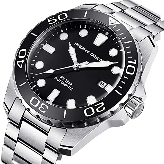 0727e33308e Stainless Steel Automatic Mens Watch with Analog Waterproof Manipulator  Table Gentleman  Amazon.co.uk  Watches