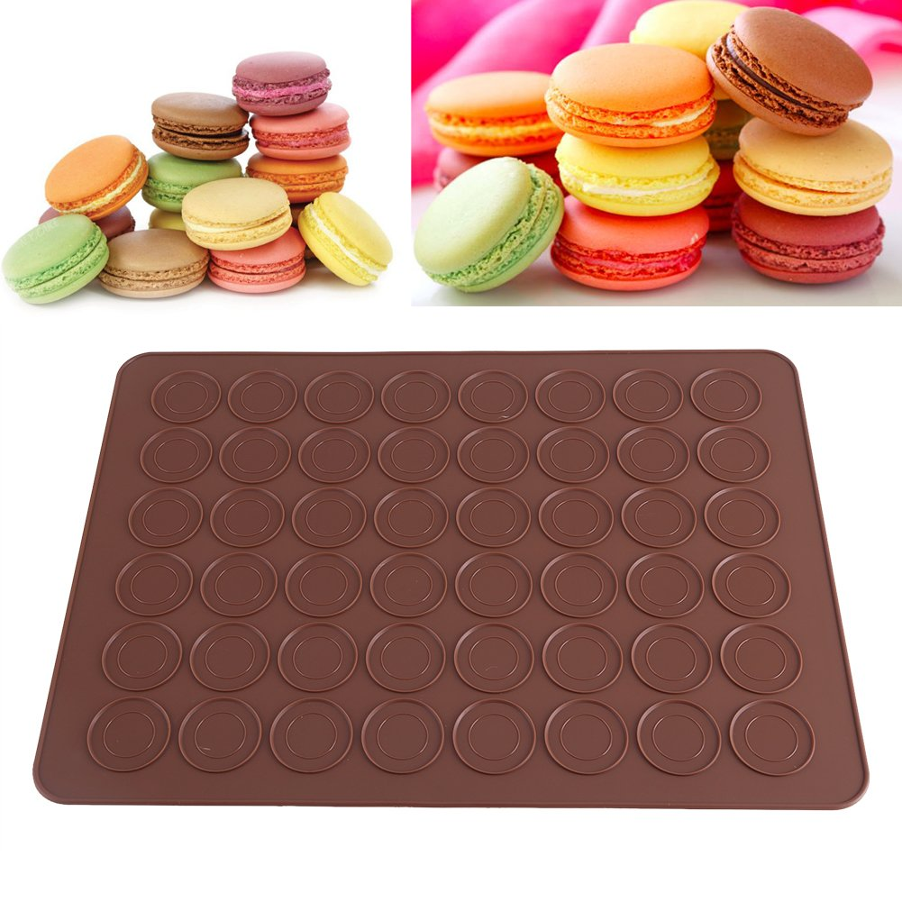 Silicone Baking Mat - Delaman 48 Cacity Macaron Silicone Mat, Baking Mold, Nonstick Pastry Sheet Decorating Cake, Cookie DIY Mould CM-0430