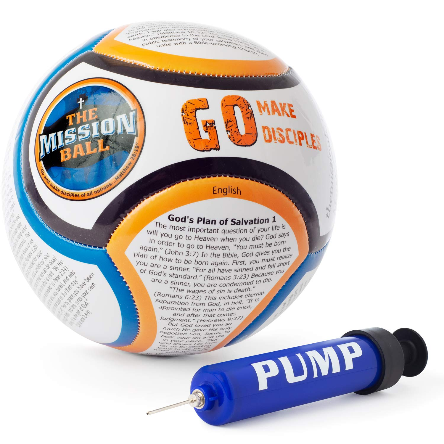 The Mission Ball (English Soccer Ball - Biblical Gospel Sharing Tool Using The World's Most Popular Sport to Explain Christ - Perfect for Mission Trips, Shoeboxes, VBS, and Gifts (1 Pack)