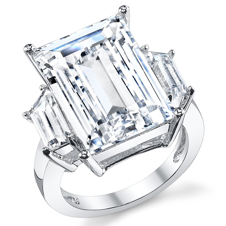Kim Kardashian Sterling Silver Engagement Wedding Ring with Large Carat Emerald Cut Cubic Zirconia CZ