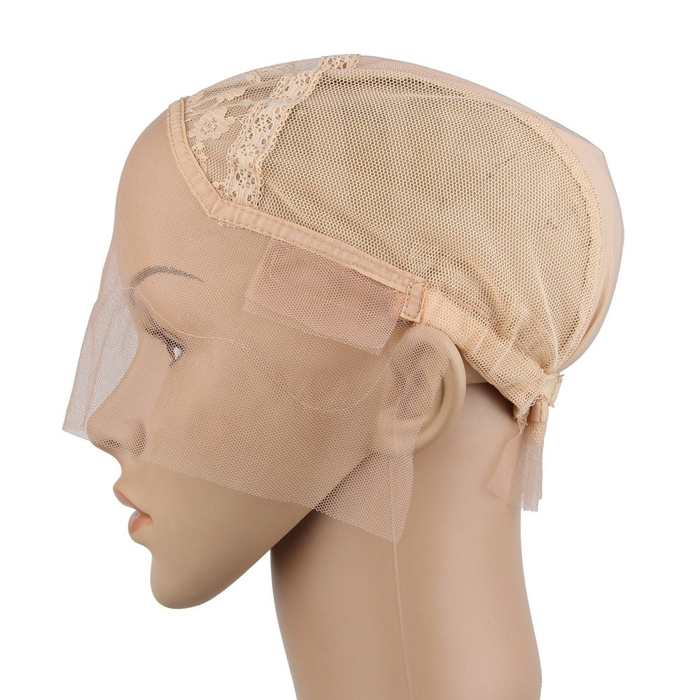 Beauty7 Swiss Lace Front Wig Caps With Elastic Adjustable Straps for DIY Weaving Sewing Making Wig Hair Weft (Size M, Beige)