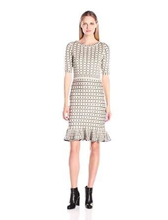 Taylor Dresses Womens Short Sleeve Body Con Sweater Knit Dress With