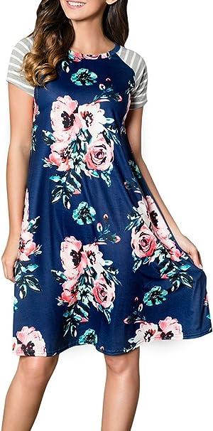 38 NEU Damen Kurzarm Shirt Kleid Dress Freizeit Blau Blue Rundhals Größe 36