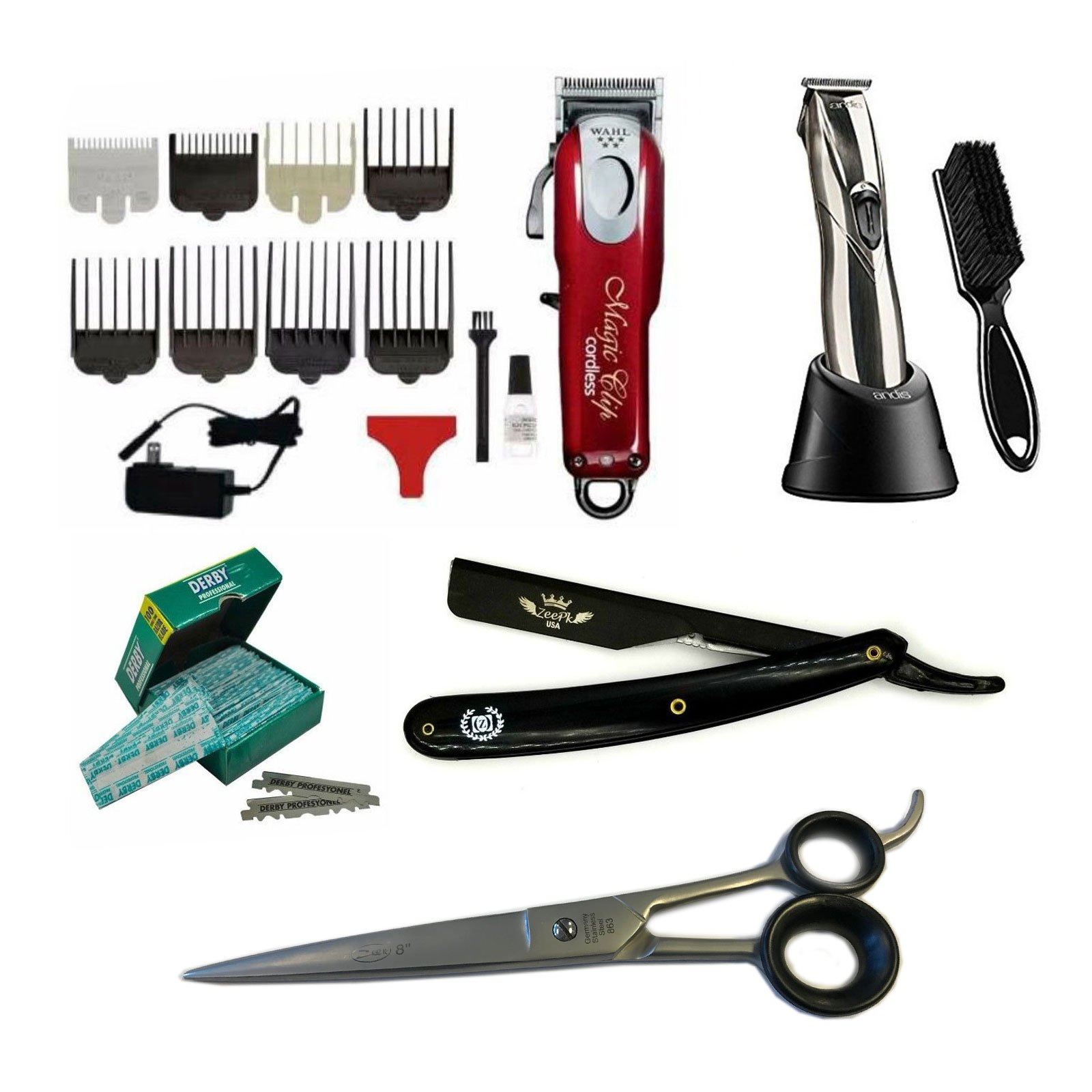 Traveling Barber Kit Cosmetology School Kit / Beauty Professional hairdressing Wahl Cordless Magic Clipper Andis Slimline Pro Li Trimmer Zeepk 8'' Shears Barber Shavette Razor with 100 Derby Blades