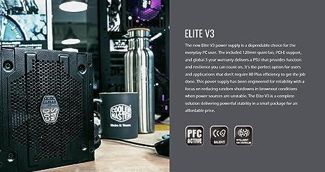 2bba5eae3 Amazon.com: Cooler Master Elite v3 600 watts ATX Power Supply, Quiet 120mm  Fan, PCI-E support, 3 Year Warranty, Black: Computers & Accessories