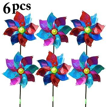 Fansport 6PCS Kids Pinwheel Garden Pinwheel Glitter Windmill DIY Pinwheel Decor Wind Spinner for Outdoor Decor
