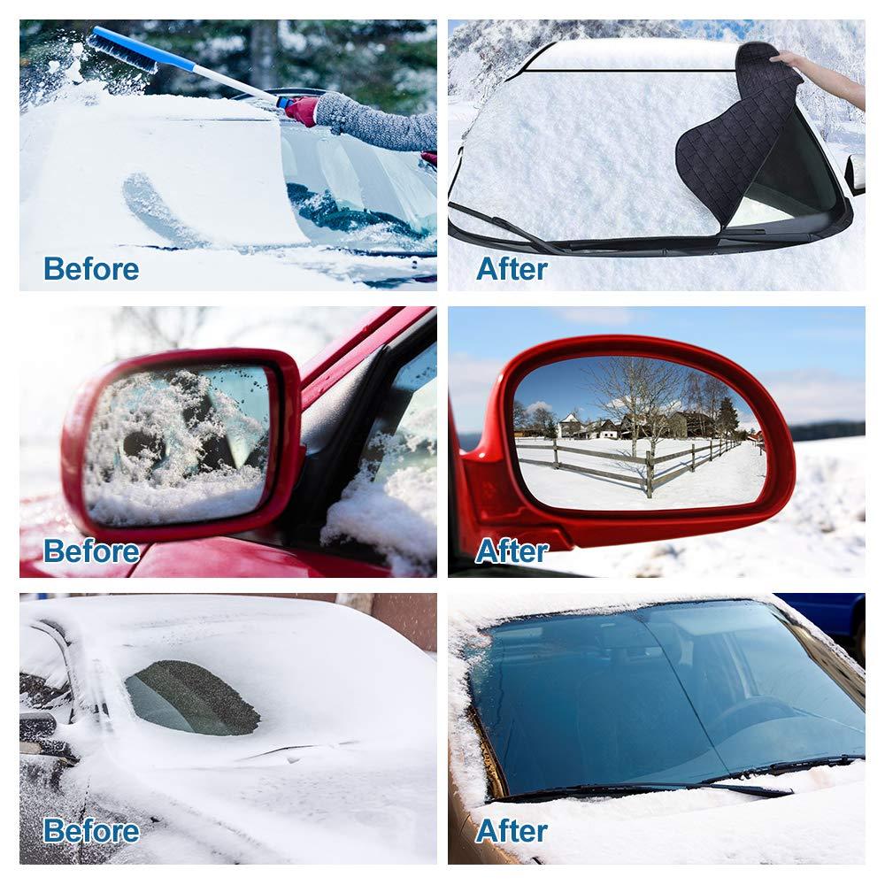 SUV T/ür-Klappen Winddicht mit 150cm x 100cm enorme Gr/ö/ße Passt die meisten Auto LKW Visier-Schutz Allwetter-Winter-Sommer-Selbstsonnenblende HuanQ Windschutzscheiben-Schnee-Abdeckung