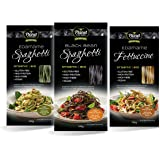 Planet Plant-Based 3 pack Protein Noodles (3 x 200g): Edamame Spaghetti, Black Bean Spaghetti, Edamame Fettuccine. Pasta made from 100% Soybeans, Natural, Gluten-Free, Vegan, Organic, Low Carb, High Protein, High Fibre.