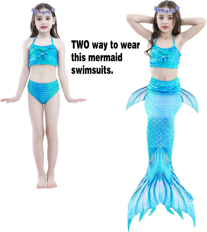 Newland 3 Pcs Girls Swimsuit for Swimming Princess Bikini Bathing Suit Set for 3-12Y