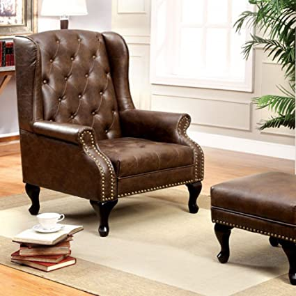 Benzara BM131410 Vaugh Traditional Wing Accent Chair, NA, Rustic Brown  Finish