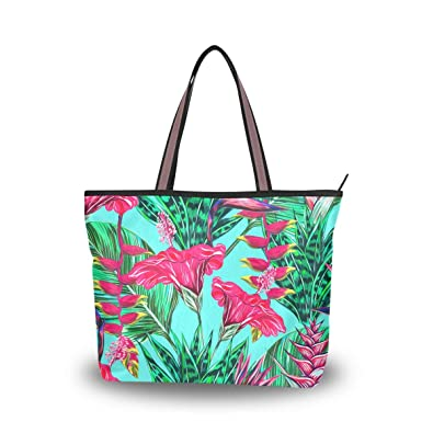 fce0ea783292 Amazon.com: JSTEL Women Large Tote Top Handle Shoulder Bags Tropical ...
