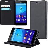 ECENCE Funda para el Sony Xperia Z3 Libro Cover Wallet Case-s Bolsa Negro 42030107