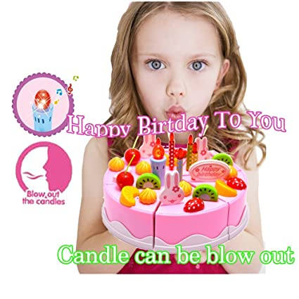 Buy Singing Birthday Cake Toy With Light And Sound Sings Happy To You Candle Can Be Blown Out By King Of Toys Online At Low Prices In India
