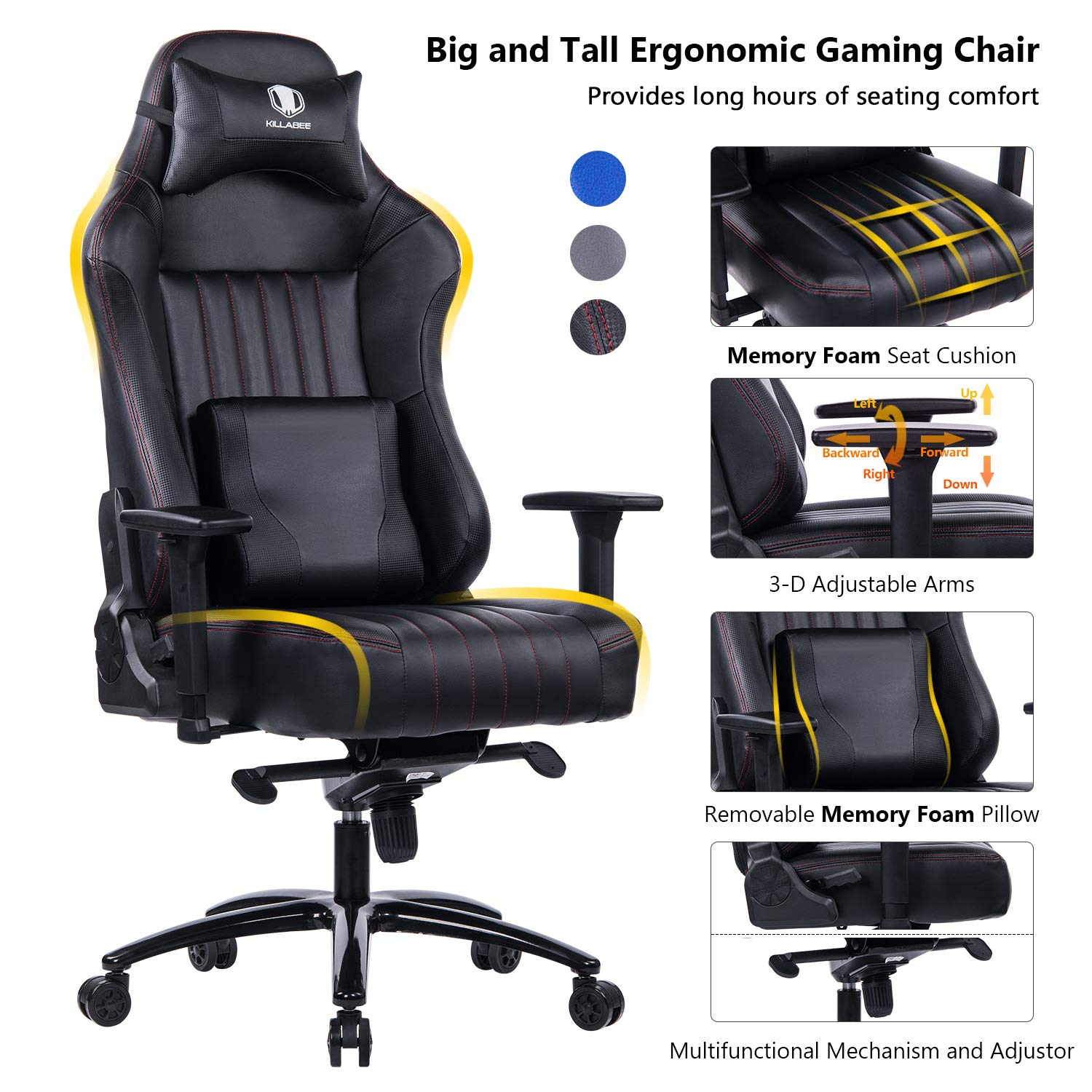VON RACER Memory Foam Gaming Chair-Adjustable Tilt, Angle and 3D Arms Ergonomic High-Back Leather Racing Executive Computer Desk Office Metal Base Black