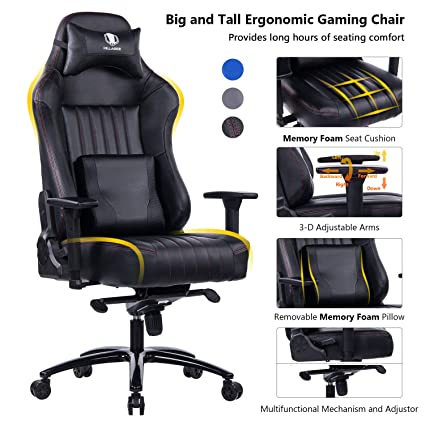 Strange Killabee Big And Tall 400Lb Memory Foam Gaming Chair Adjustable Tilt Back Angle And 3D Arms Ergonomic High Back Leather Racing Executive Computer Pdpeps Interior Chair Design Pdpepsorg