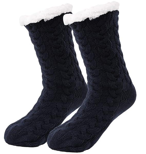 Bwiv Calcetines Mujer Gruesos Calcetines de Piso de Alfombra Antideslizante Cómodo Calentito Dibujos Lindos Forro de Polar Invierno Calcetines y Medias para ...