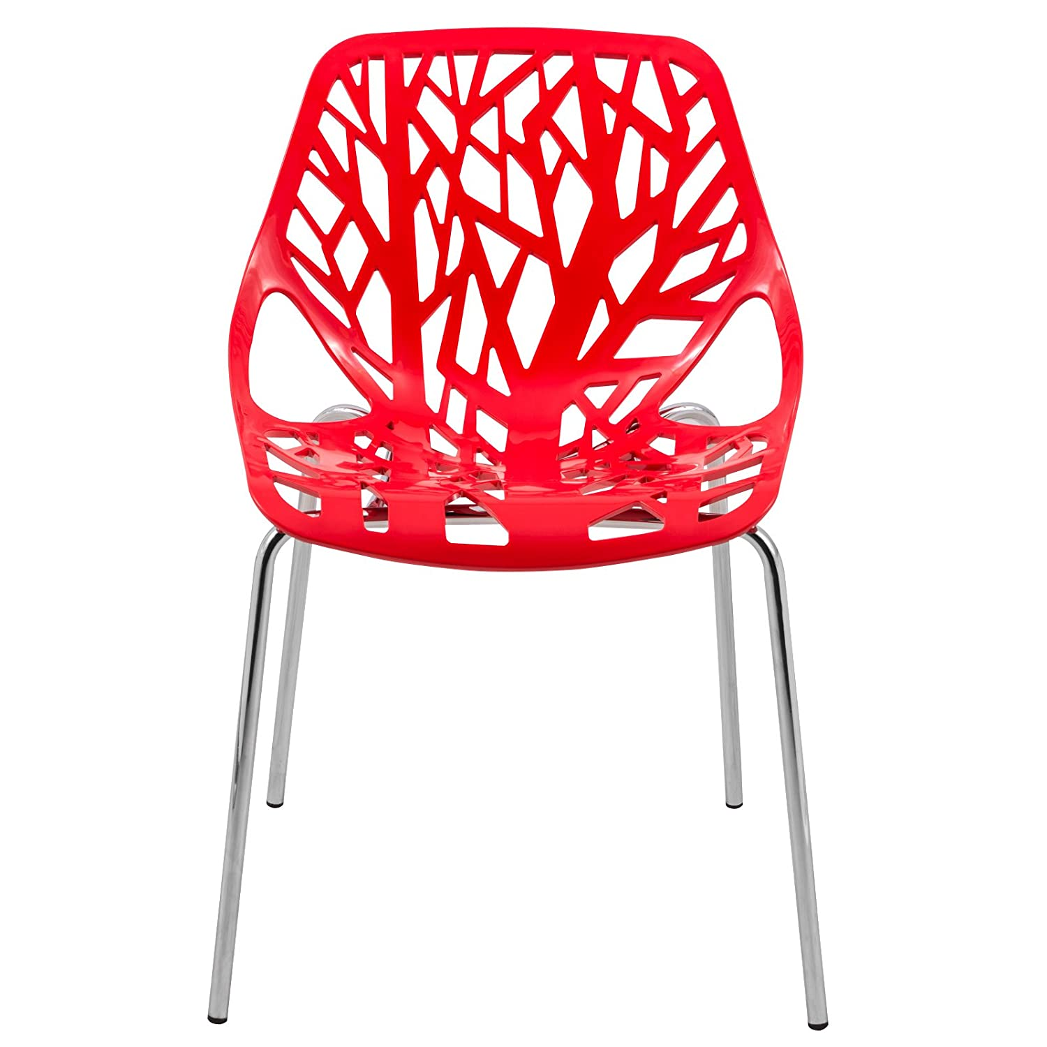 LeisureMod Modern Asbury Dining Side Chair with Chromed Legs in Red Set of 2