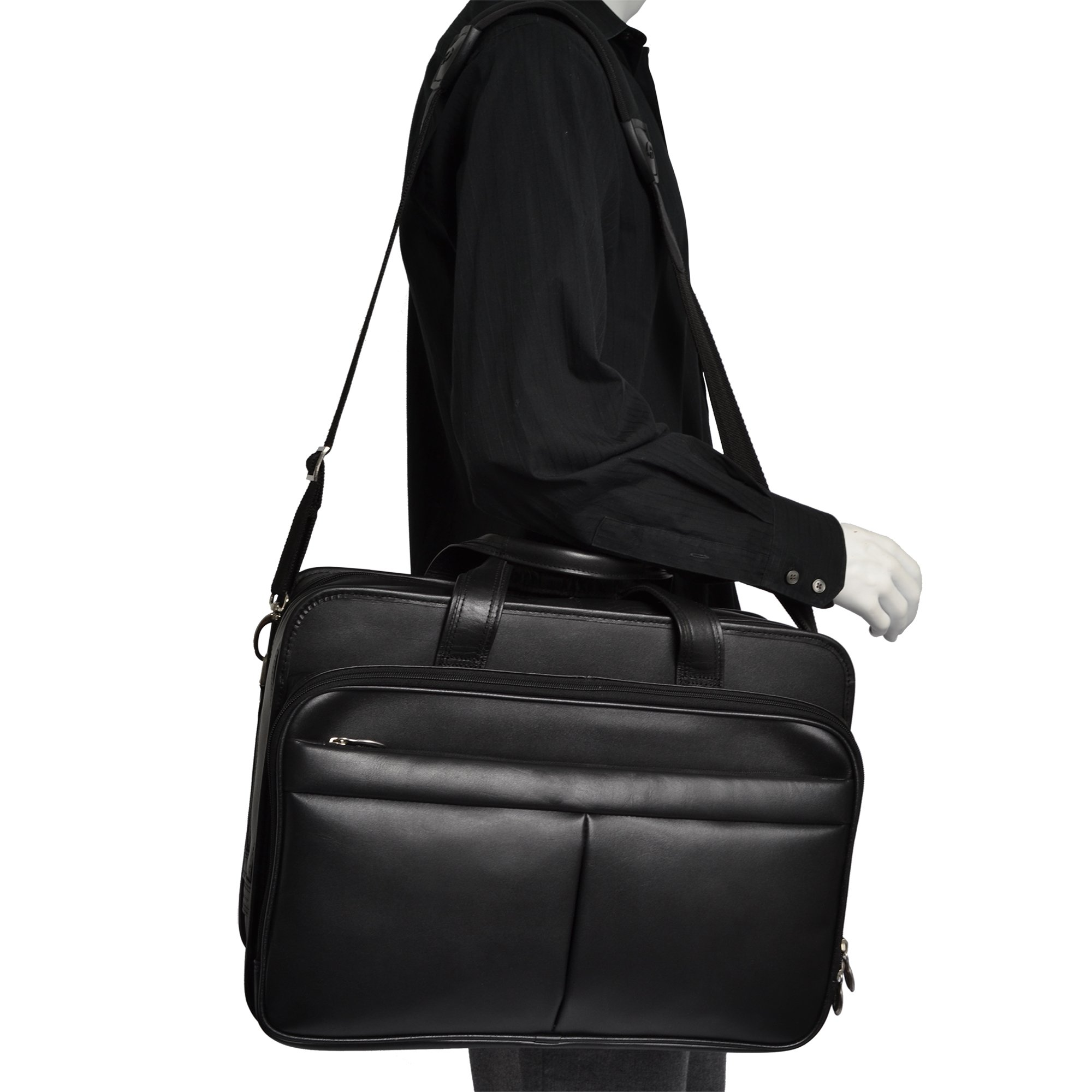 McKleinUSA Walton [Personalized Initials Embossing] 17'' Leather Expandable Double Compartment Laptop Briefcase w/ Removable Sleeve in Black by McKlein