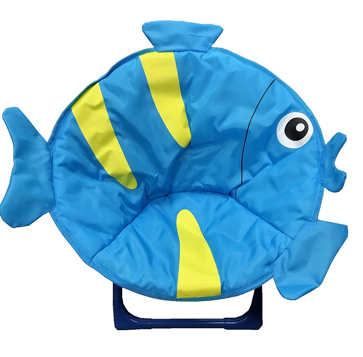 just4baby Kids Children Foldable Bedroom Play Room Moon Chair Moonchair Blue Fish Design