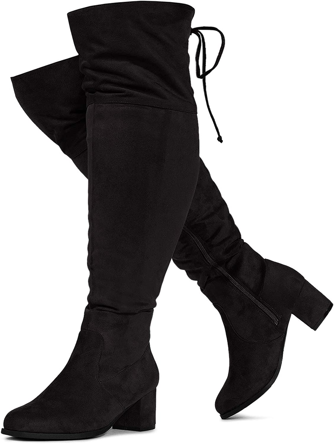 RF ROOM OF FASHION Women's Wide Calf Wide Width Chunky Heel Over The Knee Boots - Plus Size Friendly