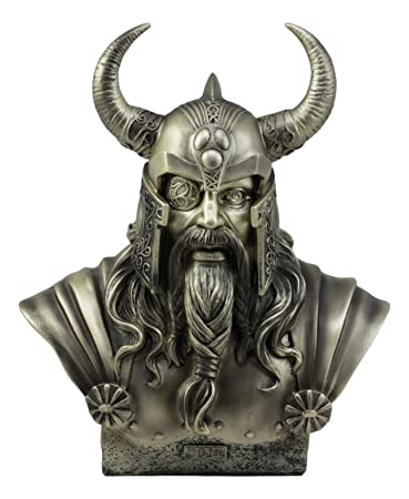 Ebros Warrior God Odin The Alfather Bust Statue 12 H Norse Viking God Odin Ruler of Asgard Sculptural Figurine