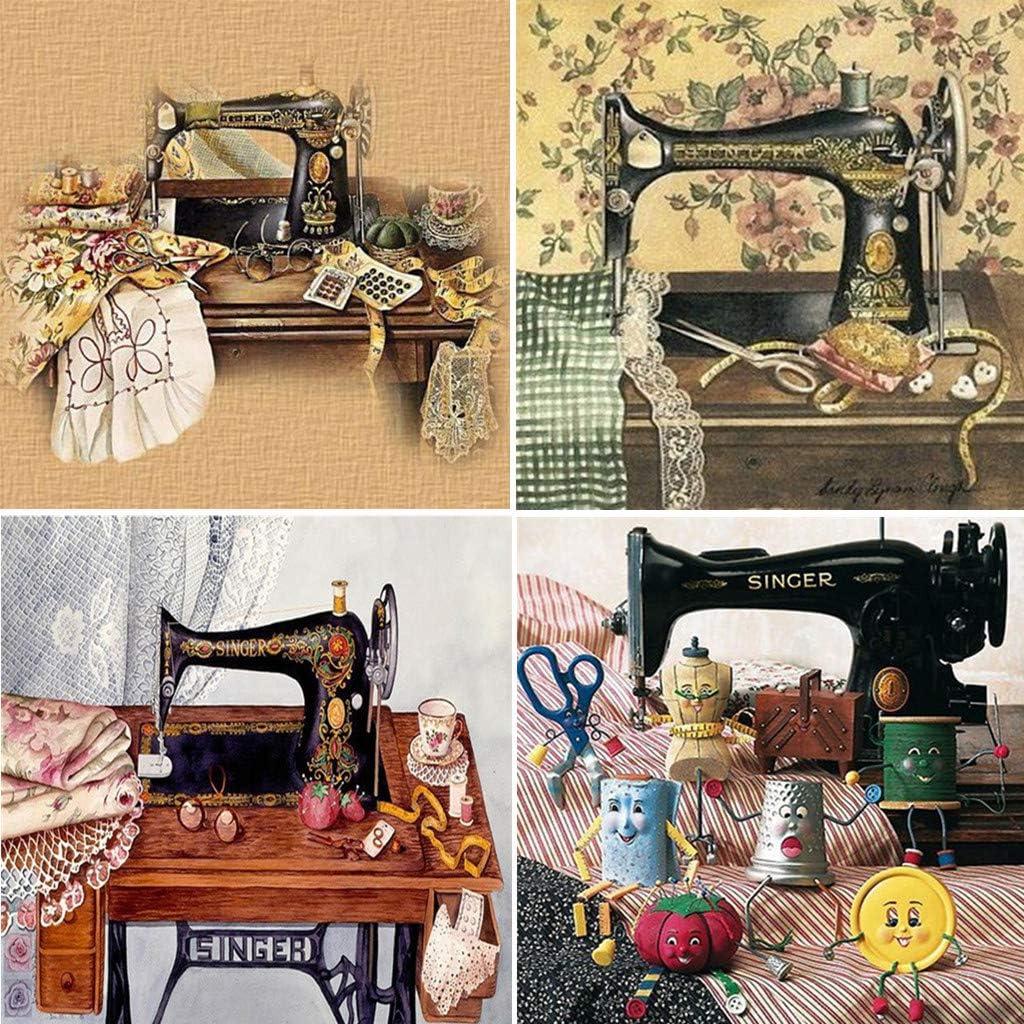 Xurgm 4 Paquetes de máquina de Coser Escritorio 5D DIY Diamante Pintura Kits Vollbohrer Strass Bordado Kreuzstich Wohnkultur artesanía: Amazon.es: Juguetes y juegos