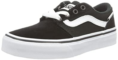 12788bba38c8 Vans Chapman Stripe Kids Canvas Shoes 2.5 M US Big Kid Black White Suede