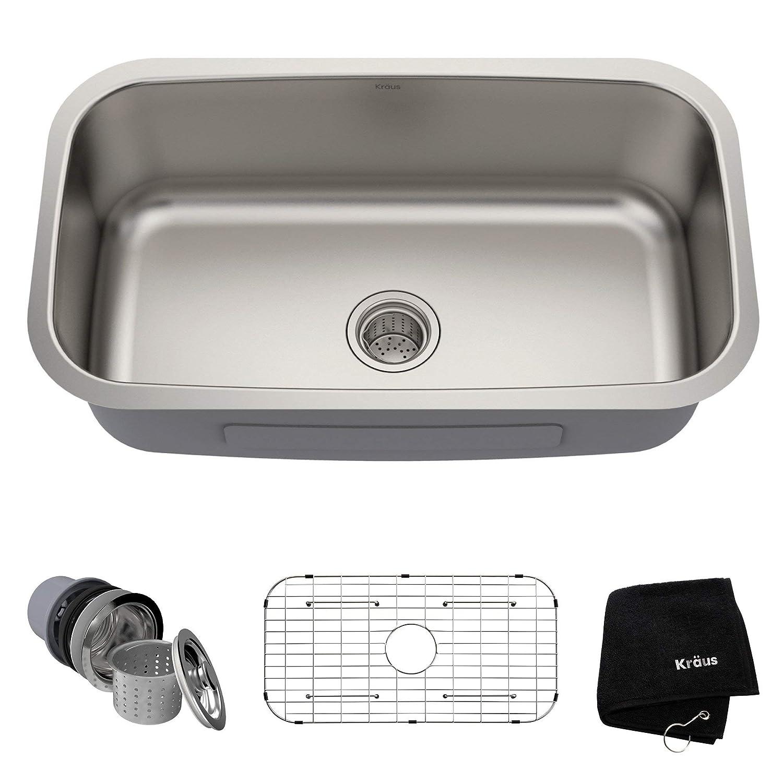 Kraus KBU14 31-1/2 inch Undermount Single Bowl 16-gauge Stainless Steel Kitchen Sink (Certified Refurbished)