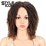 "Style Icon 6"" Short Dreadlock Wig Twist Wigs for Black Women Short Curly Synthetic Wigs (6"", T1B/30)"